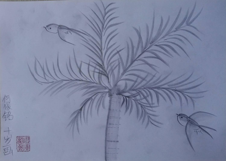 手绘树图片铅笔画