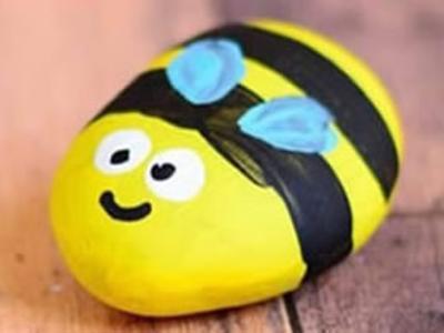 怎么用石头画做可爱小蜜蜂的方法图解
