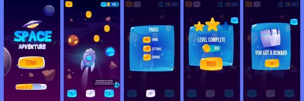 图形用户界面应用程序屏幕的太空冒险游戏免费矢量