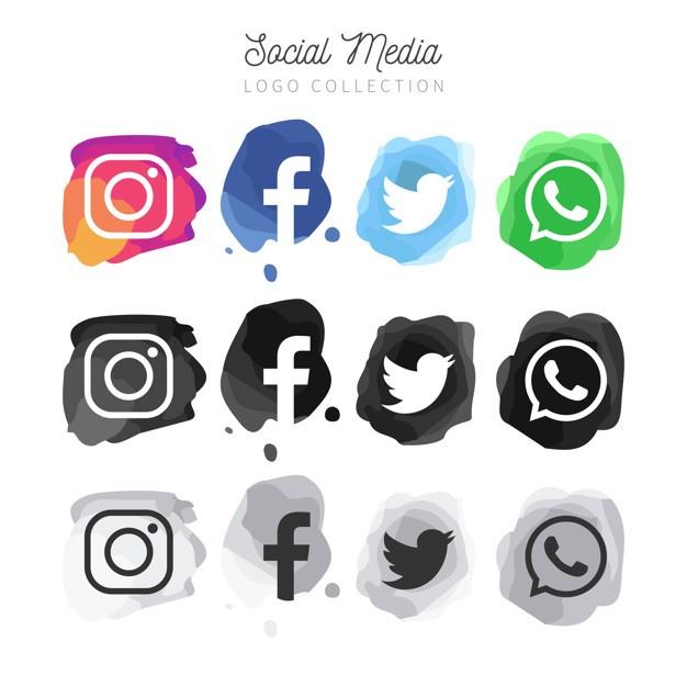 现代水彩社交媒体标识集合免费矢量
