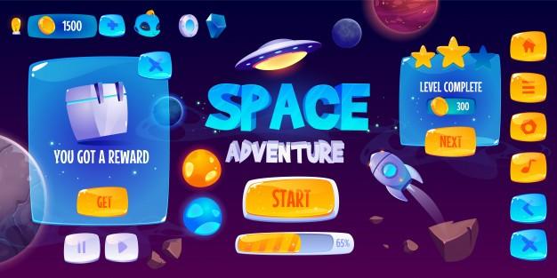 太空冒险游戏免费矢量图形用户界面