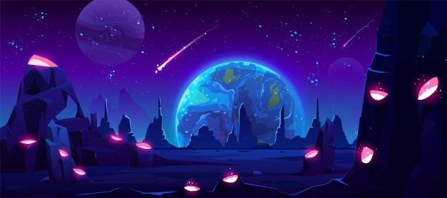 外星星球,霓虹灯空间免费矢量地球视图