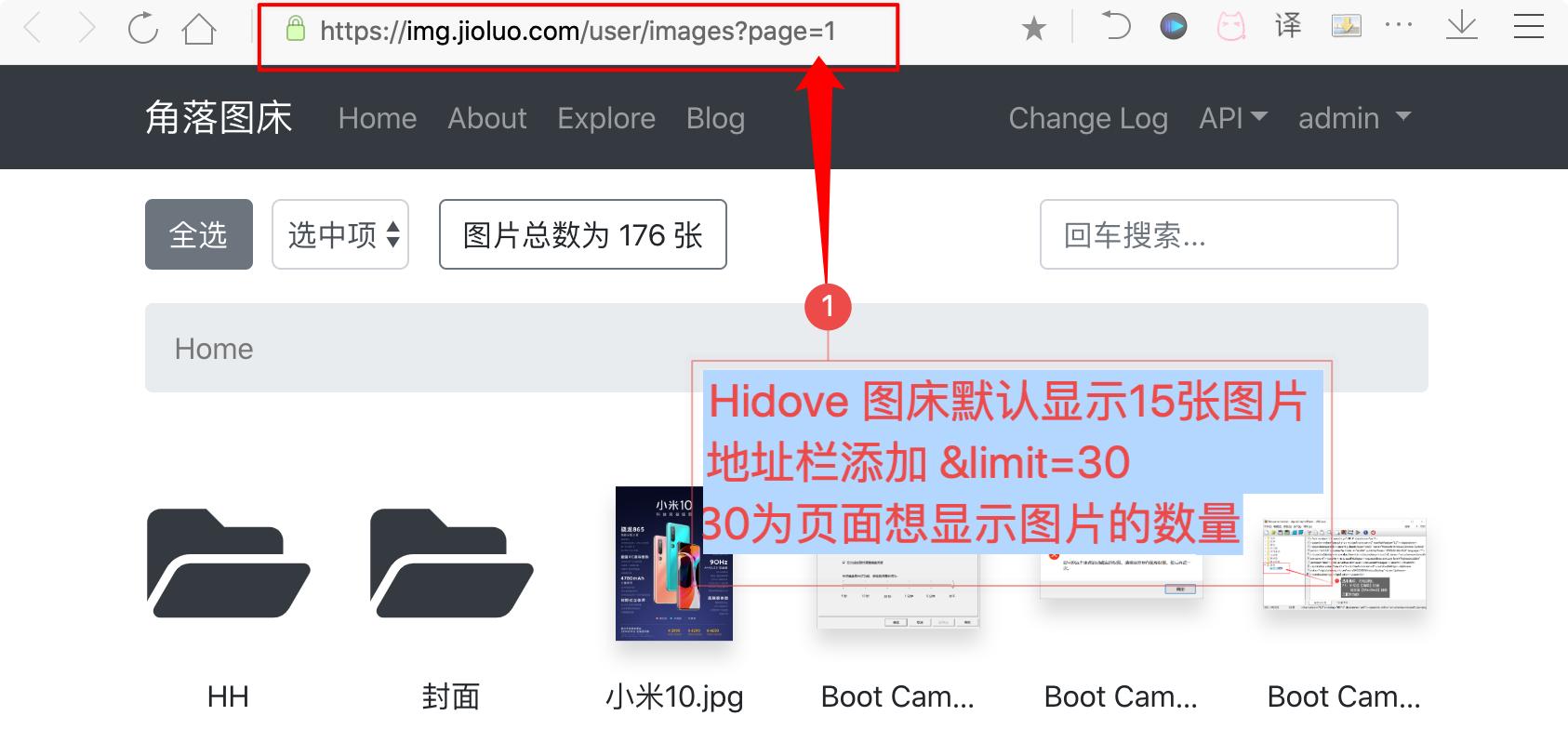 Hidove图床图库页面显示更多图片代码&limit=插图1