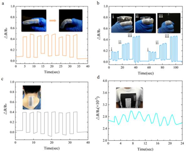 图3.增强的波浪形应变传感器作为可穿戴设备实时监测人体和机器人的运动状态。(a)人体手指弯曲/舒展时的信号响应;(b)贴敷有传感器的手指在抓取不同尺寸物体时的信号相对变化(1)烧杯(2)塑料杯(3)圆珠笔;(c)增强的波浪形传感器在人体颈部弯曲和(d)胸腔呼吸等动态循环加载下的输出信号变化。(e)集成在机器人运动关节上的柔性传感器随机器人不同运动状态的响应曲线。